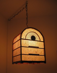 Bamboo bird cage pendant light