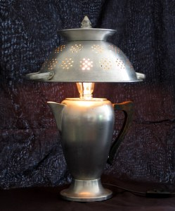 Table lamp made from an old coffee percolator and a colander