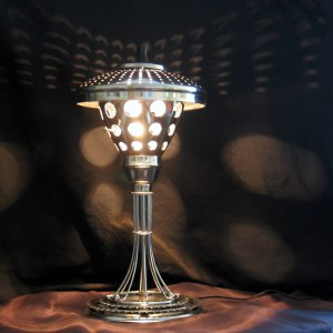 Table lamp made of stainless steel kitchenware