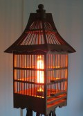 Baba Yaga's Hut tripod and birdcage floor lamp