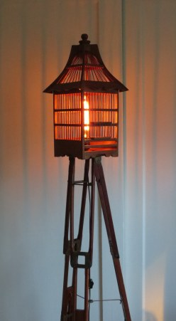 Baba Yaga's Hut tripod and birdcage floor lamp
