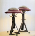 War of the Worlds jackstand and hubcap table lamps