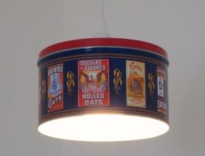 Shallow Quaker Oats tin pendant light