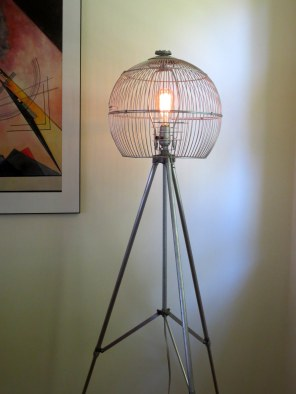 Trialuminorb - aluminum tripod and birdcage floor lamp