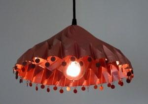 Copper-tone cone-shape pendant light with fringe