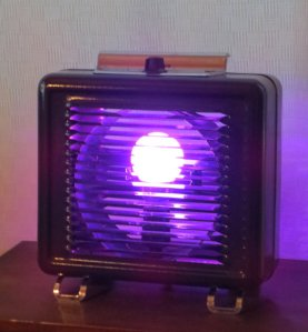 Take Me to Your Leader vintage heater lamp with color-changing LED bulb