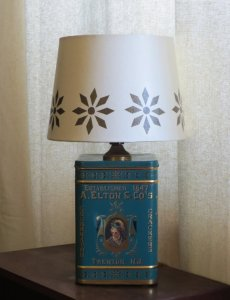 Elton & Co. tin table lamp with decorated-to-match shade