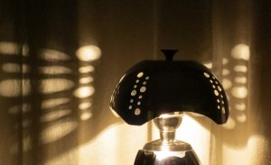 Rosie in Couture - chrome coffeemaker lamp with stainless steel shade